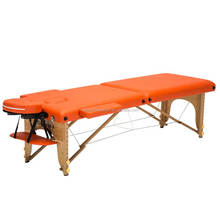 wooden 2 section folding massage bed with face hole,armrest,headrest made in China