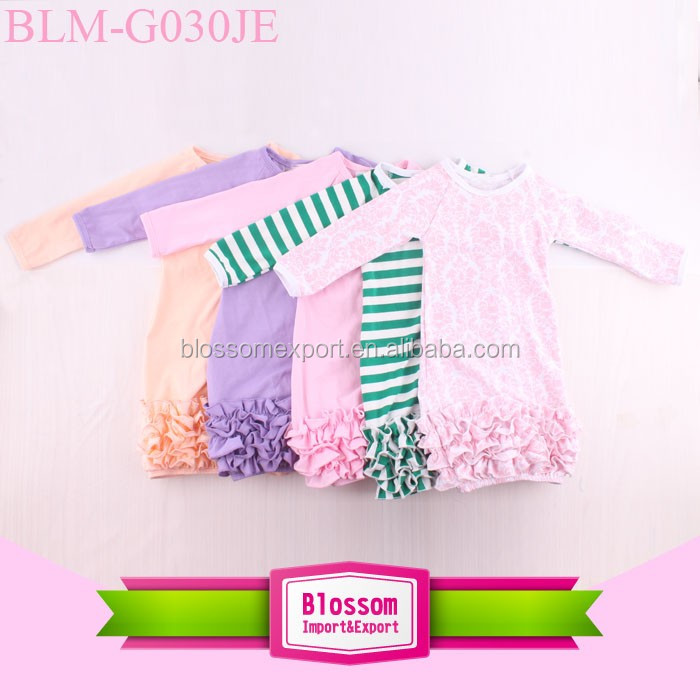Bulk Wholesale Kids Clothing Monogram Blanks Solid Green Long Sleeve Triple Icing Ruffle Bottom Baby Gown