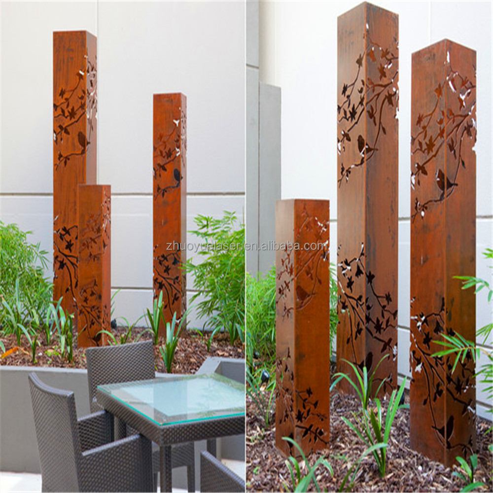 rusted laser cutting corten steel nameplate for garden or streetscape