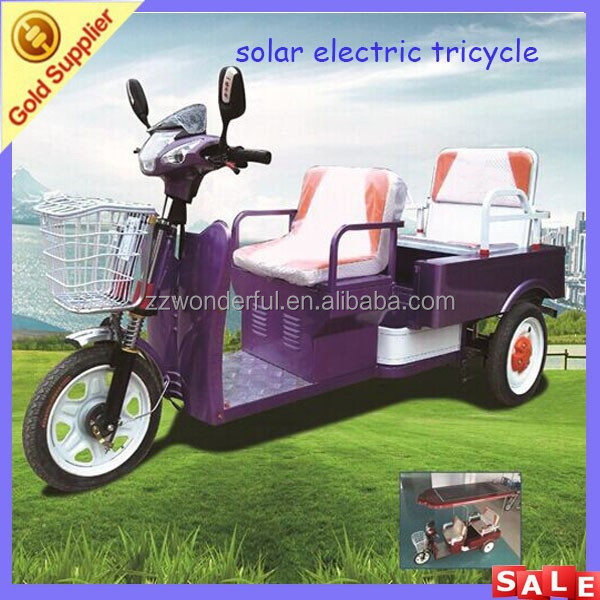 Best quality low fuel 3 wheel bikes for adults with solar panel