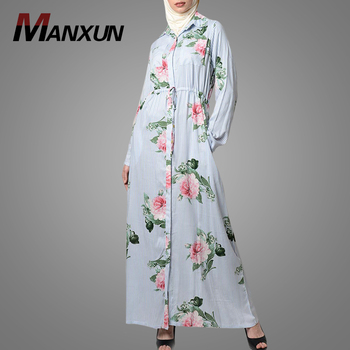 2018 Newest Fashion Cotton Long Abaya Most Popular Elastic Waist Islamic Clothing Elegant Floral Printing Turkish Kaftan Dress