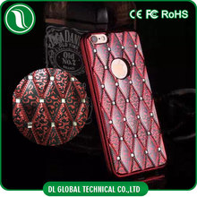 Hot selling synthetic leather back cover case for samsung galaxy j7 with rhinestones