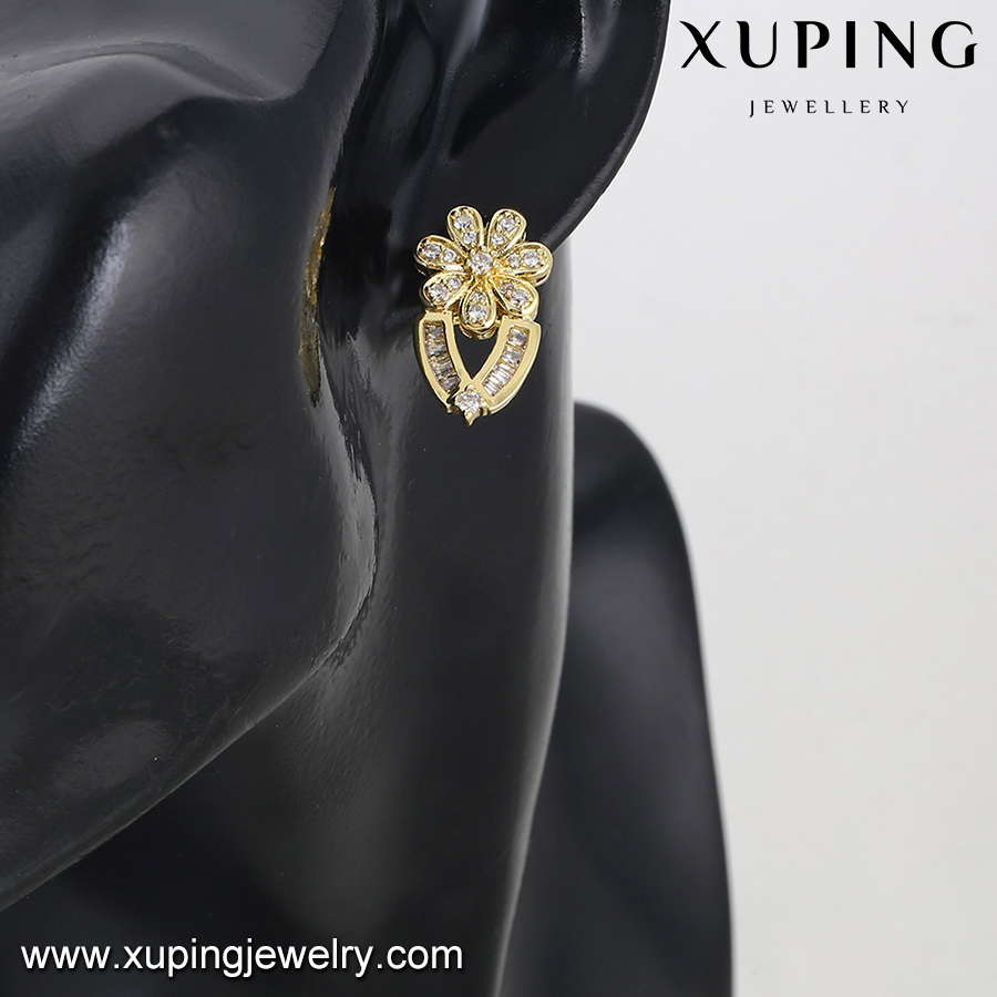 92785 xuping dubai gold jewelry earring, 14k gold color ladies earrings designs pictures, stud earring