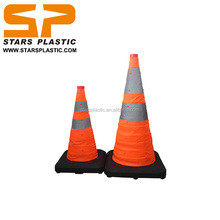 Heavy duty Collapsible traffic cone Reflective flexible rubber base cone