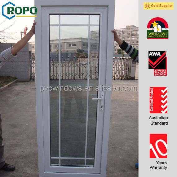 White color upvc profile safety door design with grill