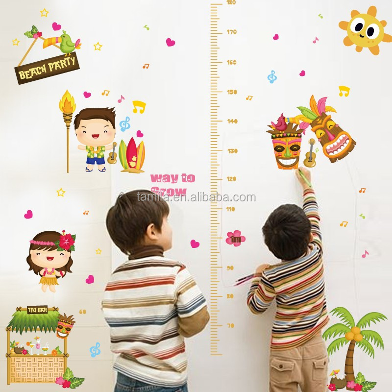 Self Adhesive PVC Wall Sticker Kids Cartoon Animal Measure Growth Chart Sticker