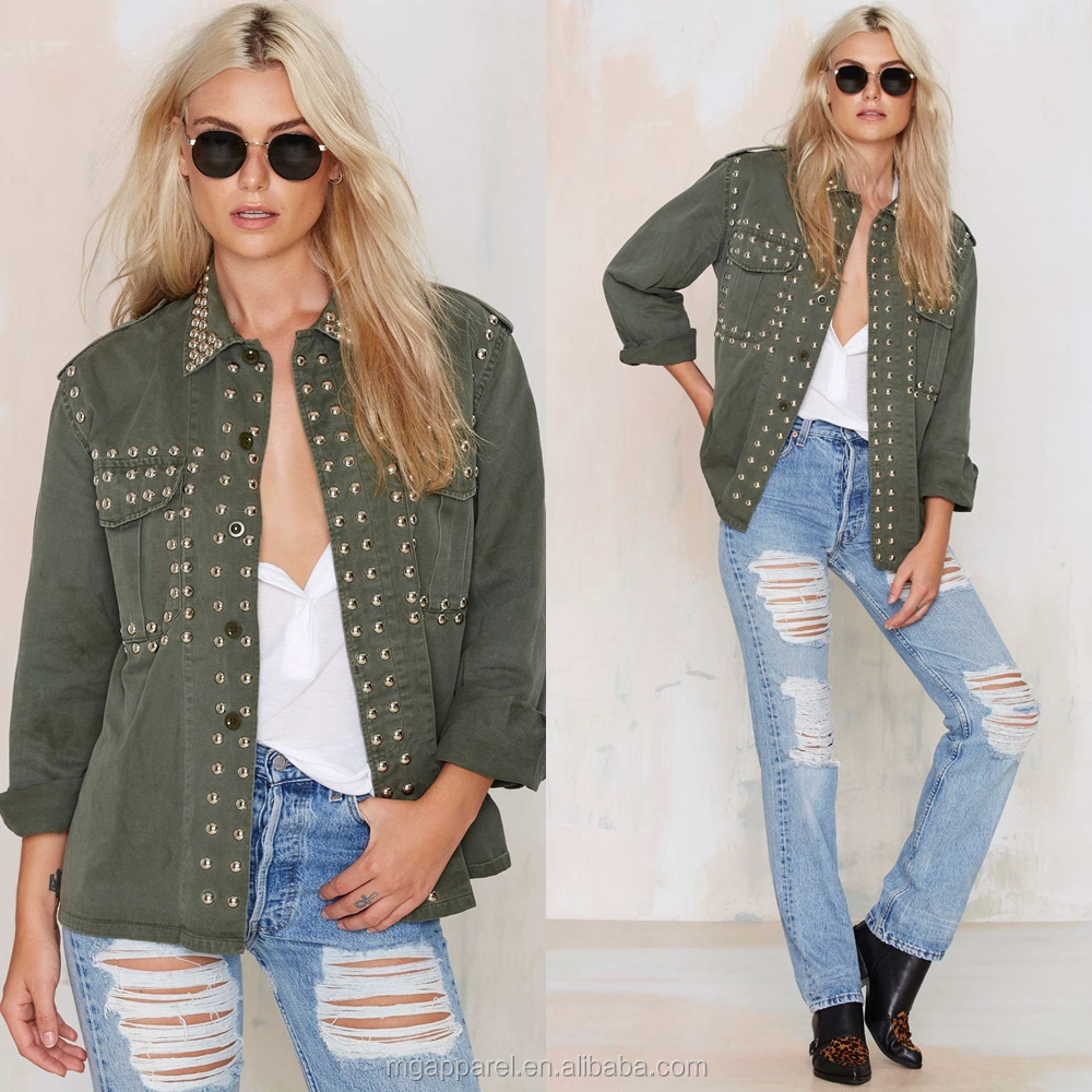 OEM cheap wholesale button front vintage long sleeve sequin woman army military jacket