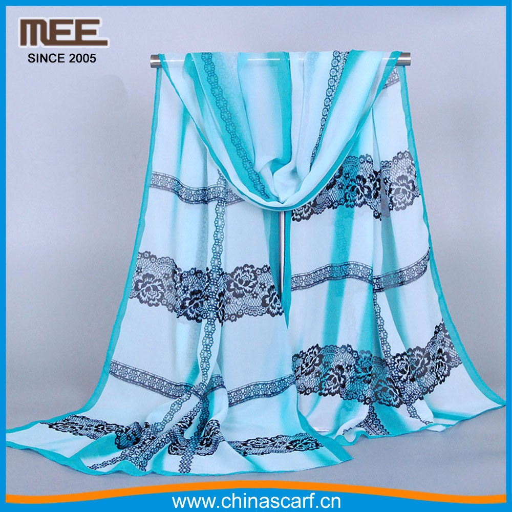 newest design lace imitaition silk Designer brand scarf