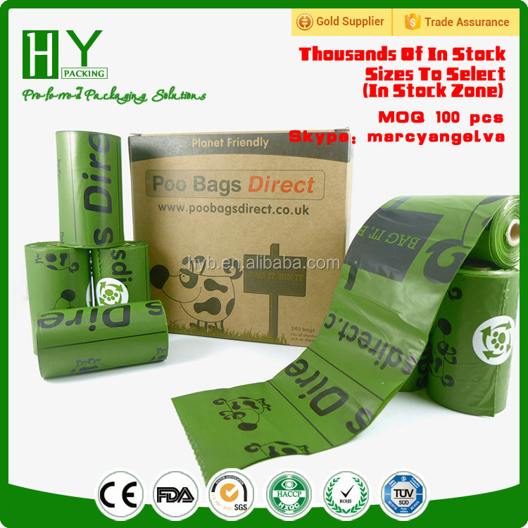 Eco-friendly material biodegradable certificate scented dog poo/biodegradable dog poo bags/poop bags set