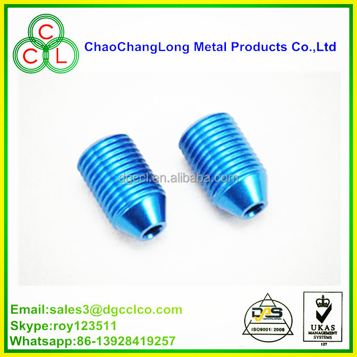 decorative glass head aluminium set screw