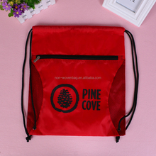 Silk printed draw string sports bag, nylon sports bag with net pocket