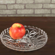 Round shape relief pattern glass <strong>plate</strong> use for fruit and candy