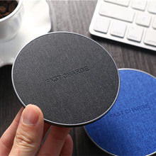 Free sample hot selling product denim cloth fabric surface fast charging smart qi wireless charger for samsung s6 s6 edge