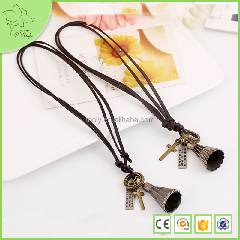 2015 Winter Hot Wholesale Vintage Leather Chain Alloy Feather Bird Necklace