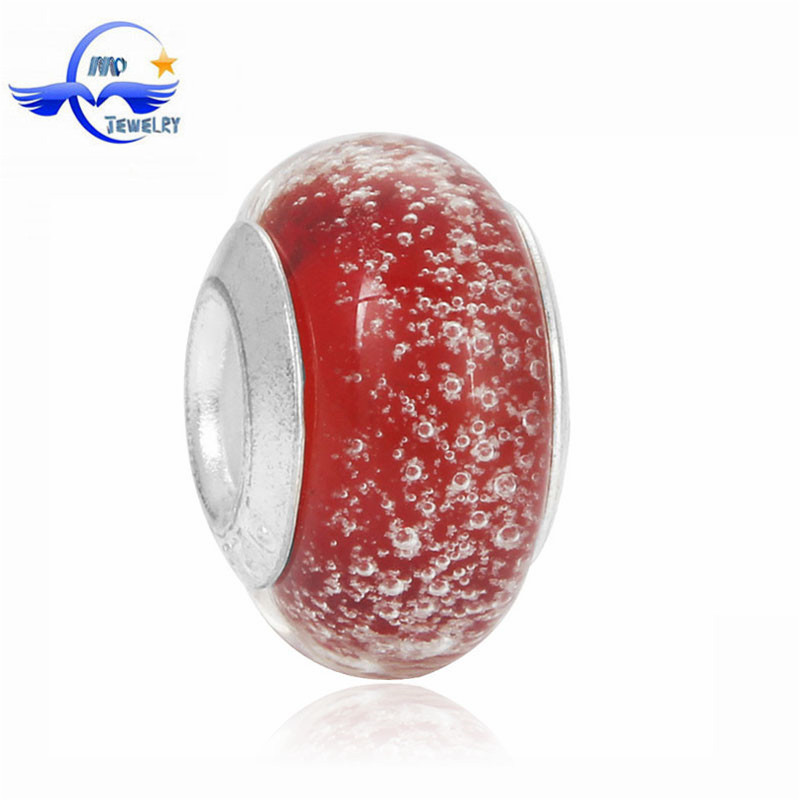Red Bubble Loose Beads For Jewelry Making Fashion Glow in the Dark Murano Glass European Beads