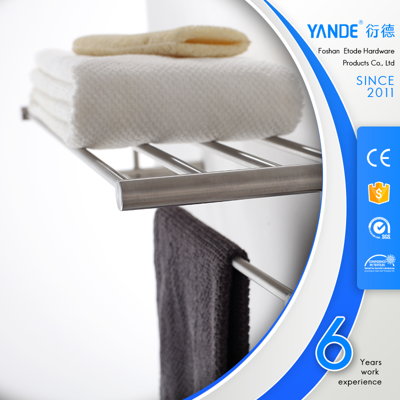 Bathroom towel shelf with robe hook stainless steel wall mounted clothes hanger
