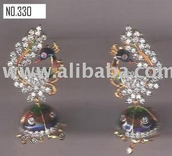 CZ WITH MEENA EARING