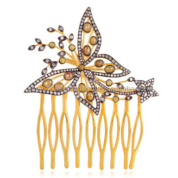 butterfly shaped diamond hair comb accessories gold jewelry