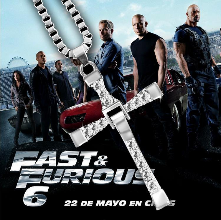 2017 Movie The Fast and Furious Crystal Rhinestone CROSS Pendant Necklace Dominic Toretto Jesus Jewelry For Punk Men Wholesale