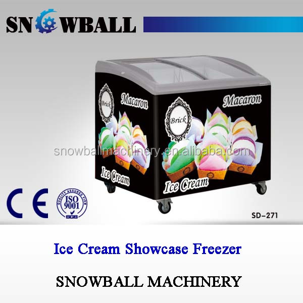 Commercial Showcase Refrigerator, Glass Door Ice Cream Display Freezer Price