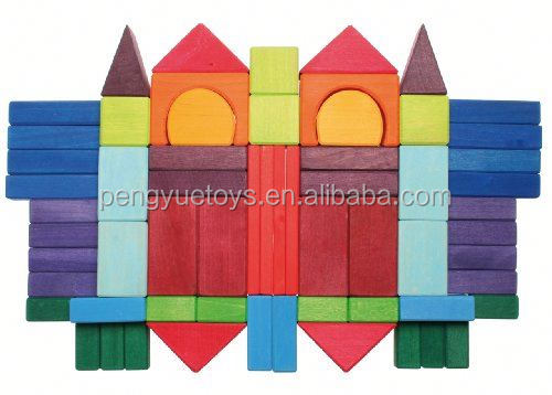 2016 Wholesale educational custom high quality connecting building blocks colored wooden block usa