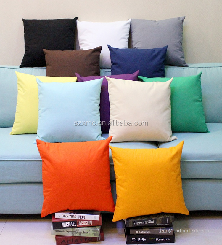 100% plain dyed cotton canvas blank decorative wholesales cushion cover