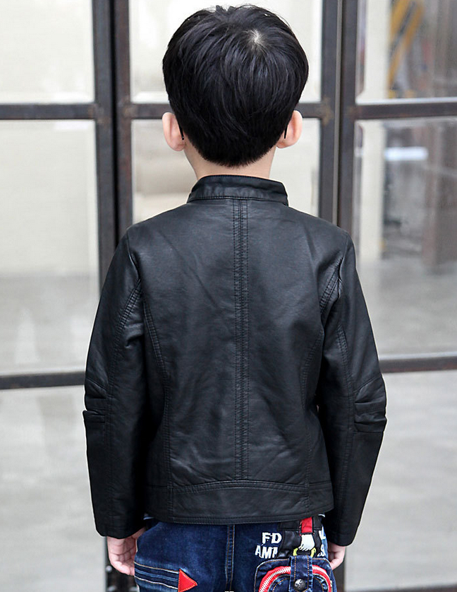 Trendy children clothes boys coats baby pu leather jacket solid toddler boy jacket