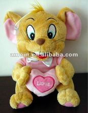 Cute soft toy mouse with heart with sucker pendant stuffed Tom and Jerry toys new toys for christmas 2013 kids best gifts