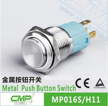 CMP 16mm waterproof stainless or brass on off push button switch touch switches