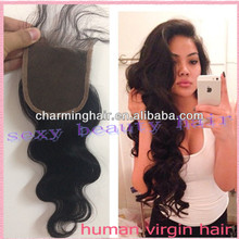 Free shipping Top Closure 4''x4'' Brazilian Virgin Human Hair Free Part Body Wave Lace Closure With Baby Hair