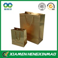 Printing Logo Fashion Luxury Gold Color Paper Shopping Bag