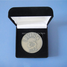 Antique silver metal logo Australia commemorate coin with gift box