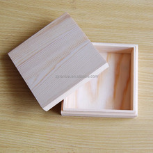 Separated lid square small pine wood storage CD / DVD box, wooden coin boxes