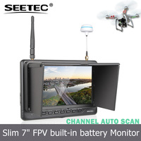 7'' FPV monitor no blue screen light and slim 18mm width built-in battery channel auto searching quadrocopter dji