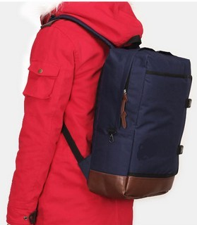School style navy blue polyester backpack