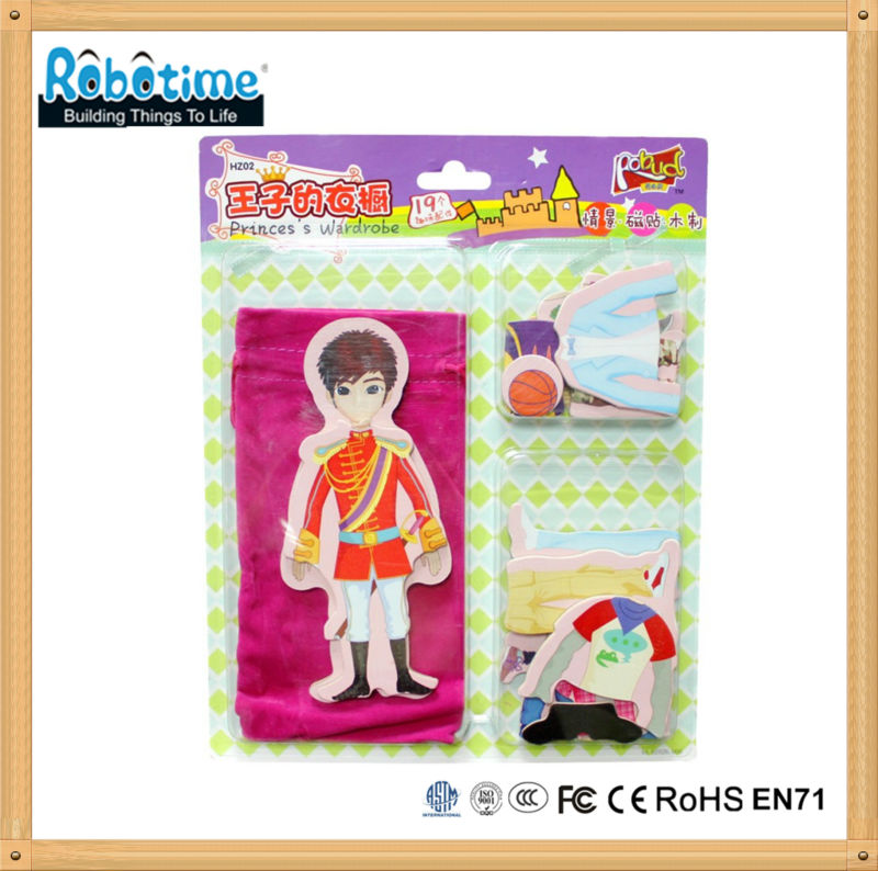 Wooden toy doll for girls