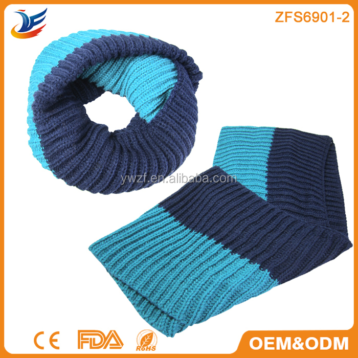 Wholesale china manufacturer Double colors winter knitted scarves