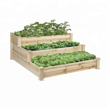 New wooden vegetable bed outdoor or raised garden bed