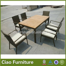 Teak wood table rattan chair garden dining table and chair