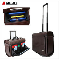 High-capacity PU pilot bag trolley document bag with retractable luggage handles for bussiness