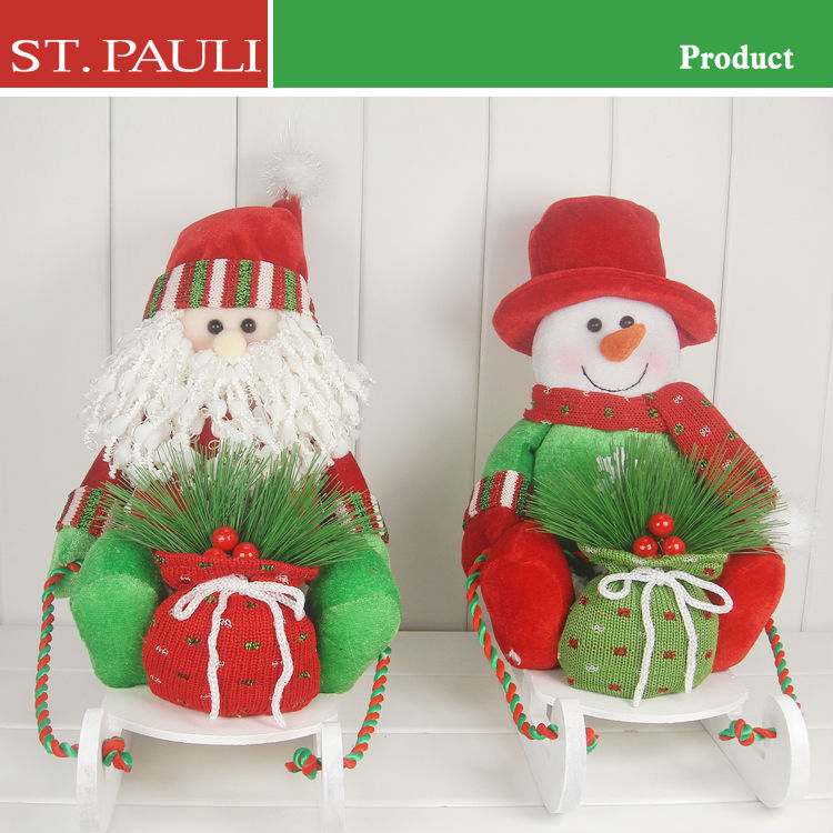 fresh color small size decorative christmas decoration outdoor santa in sleigh