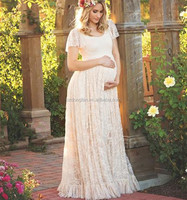 Spring Summer Maternity Clothes Lace Flutter Sleeves Plus Size Women Clothing