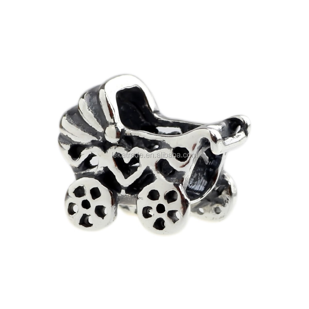 Wholesale Baby Carriage Stroller Authentic 925 Sterling Silver Charm for European Bracelet