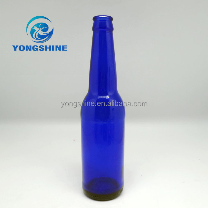 330ml Cobalt blue glass beer bottle with pry-off metal cap wholesale