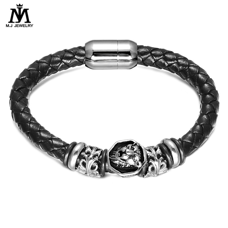 316 L Stainless Steel Magnetic Clasp Lion Head Charm leather Bracelet