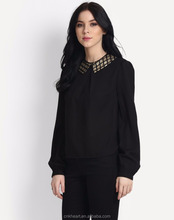 Fashionable full sleeve button black patch work women blouse designs