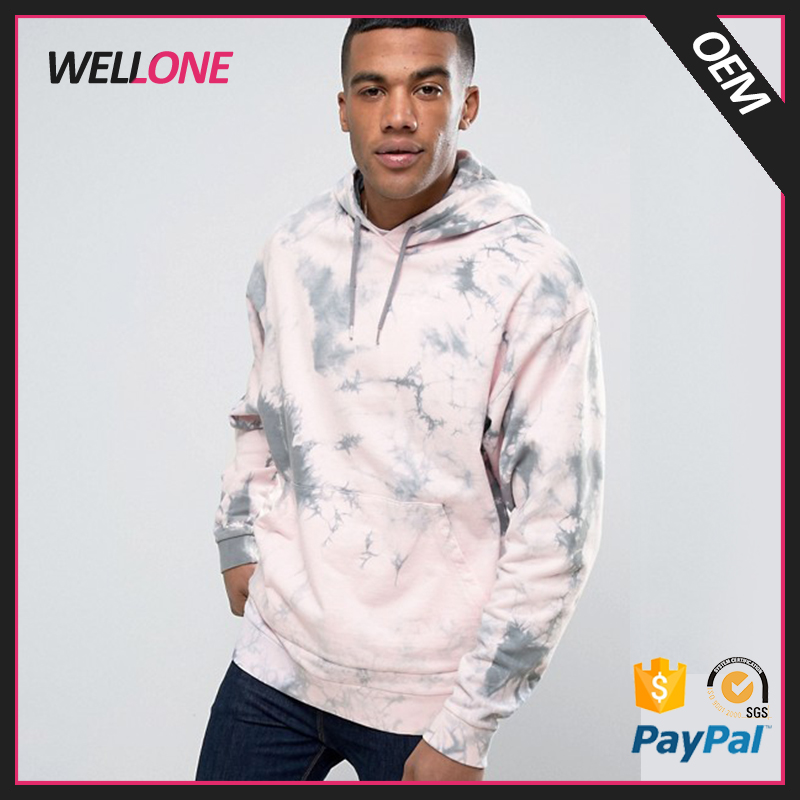 Latest design 100% cotton pullover with hood custom pattern no logo blank pink men tie dye hoodie