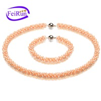 pink fancy choker jewelry natural elegant pearl necklace set designs
