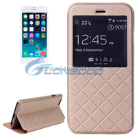 Latest design factory sell leather case with Smart window View for Iphone6