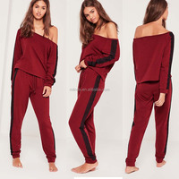 Women Blank Wholesale Clothing Off The Shoulder Lounge Tracksuit Burgundy Latest Design Tracksuit With Lace Detail